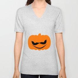 Evil Halloween Pumpkin Silhouette Unisex V-Neck