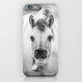 Yawning horse, sticking tongue out | Funny horse photo | Fine Art photography iPhone Case