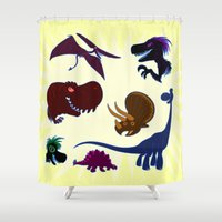 cartoons Shower Curtains featuring Dinosaur Cartoons by Cartoonasaurus