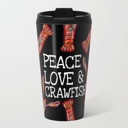 Peace, Love & Crawfish Beaucoup (dark) Travel Mug