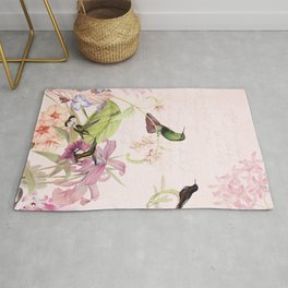 Vintage & Shabby Chic - Blush Tropical Hummingbird Flower Garden Rug