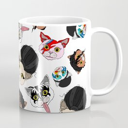 Pop Cats - Pattern on White Coffee Mug