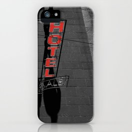 Street Photography Black and White and Red Hotel Italian iPhone Case