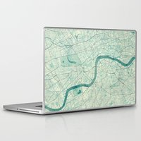 vintage map Laptop & iPad Skins featuring London Map Blue Vintage by City Art Posters