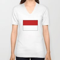 indonesia V-neck T-shirts featuring indonesia country flag by tony tudor