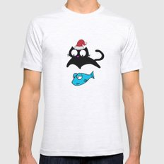 Lucky Xmas Cat Ash Grey SMALL Mens Fitted Tee