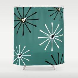 Fifties Kitchen Pattern Emerald Shower Curtain