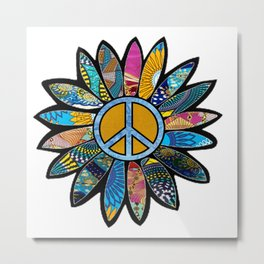 Peace Sign Flower Blues Metal Print