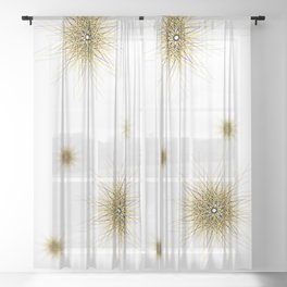 Minimalist yellow geometric lines mandala star Sheer Curtain