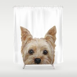 Yorkshire 2 Dog illustration original painting print Shower Curtain