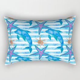 Watercolor Dolphin Pattern Rectangular Pillow