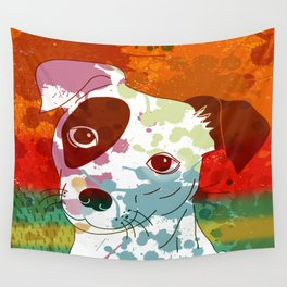 Abstract Colorful Jack Russel Terrier  Wall Tapestry