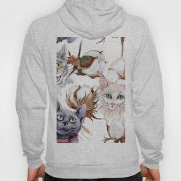 Cotton Flower & Cat Pattern 01 Hoody