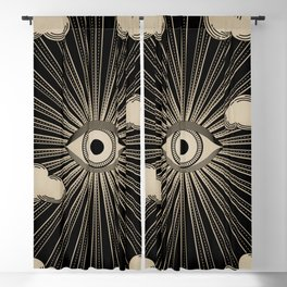 Radiant eye minimal sky with clouds - black and gold Blackout Curtain