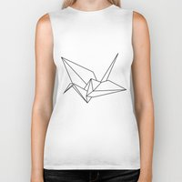 origami Biker Tanks featuring origami  by LiveTheSkylife