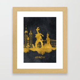 Krakow skyline gold black #cracow Framed Art Print