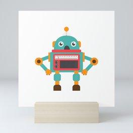 Retro Vintage Robot Cute Robotic Science Battle Bots T-Shirt T-Shirt Mini Art Print