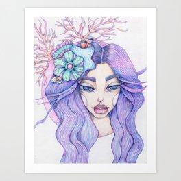 JennyMannoArt Colored Graphite/Keira the Mermaid Art Print