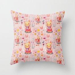Kitty Hearts & Fashion Throw Pillow