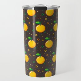 Pixel Oranges - Dark Travel Mug