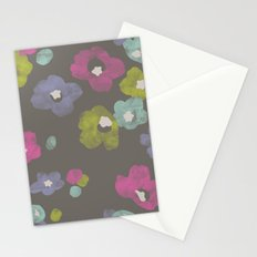 Watercolor Blooms - in Charcoal Stationery Cards