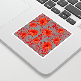 ORANGE-RED AMARYLLIS BROCADE FLORAL GREY ART Sticker