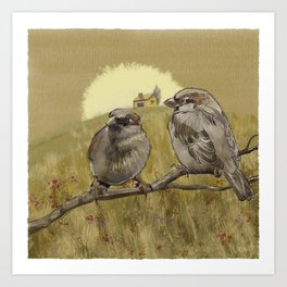 Sparrows at Sunrise Art Print