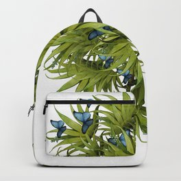 """El Bosco fantasy, tropical island blue butterflies 02"" Backpack"