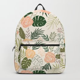 Yellow and Green Tropical Floral Pattern Backpack
