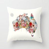 australia Throw Pillows featuring Australia by bri.buckley