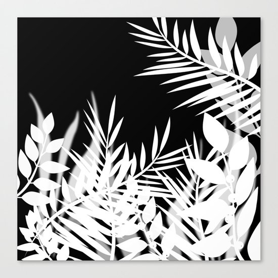 The leaves and berries. Black and white pattern . Canvas Print