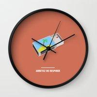 fifth element Wall Clocks featuring ARRETEZ DE RESPIRER ( The Fifth Element ) by COMME UNE AFFICHE AU MUR
