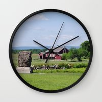 battlefield Wall Clocks featuring Barn on the Battlefield by Scenic Sights by Tara