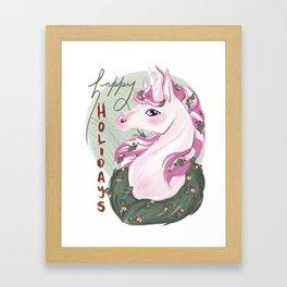 Unicorn Holidays Framed Art Print
