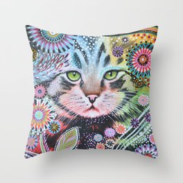 Abstract Cat Art - Penny Throw Pillow
