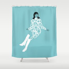 She was wearing white boots (teal) Shower Curtain