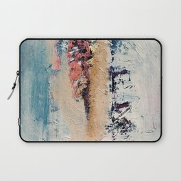 Artemis: A pretty, minimal, abstract mixed media piece in blue, gold, pink, purple, and white Laptop Sleeve