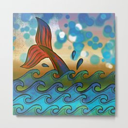 Beach Whale Tail Abstract Metal Print