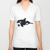 killer whale V-neck T-shirts featuring Orca/Killer Whale by Nemki