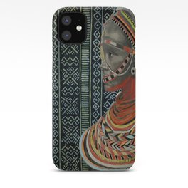 The Red Beads/mud cloth background iPhone Case