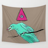 occult Wall Tapestries featuring occult raven by Ewa Pacia