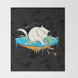 Flat Earth Cat Throw Blanket