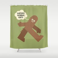 bigfoot Shower Curtains featuring Bigfoot Has So Many Haters by David Olenick