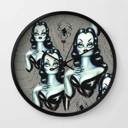 Vampire Vixen with Black Widow Spider Wall Clock