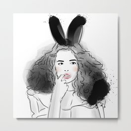 Fashionable easter bunny girl Metal Print