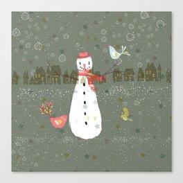 Cute Christmas Snowman & Birds Winter Scene Canvas Print