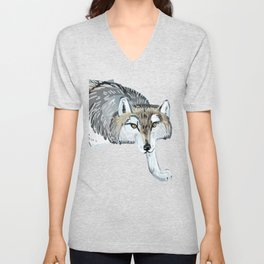 Totem Hokkaido grey wolf (Blue) Unisex V-Neck