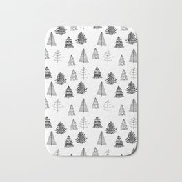 Trees Pattern Black and White Bath Mat