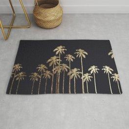 Glamorous Gold Tropical Palm Trees on Black Rug