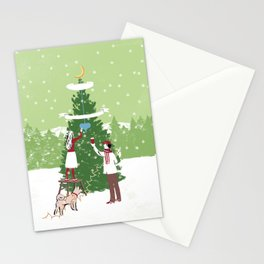 Decorating a tree Stationery Cards